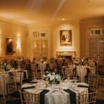 Dining room prepared for a rehearsal dinner