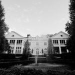 Black and White photo of the front of Duke Mansion